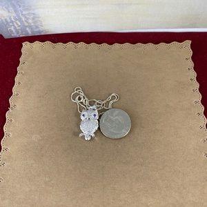 Gem Emporium Jewelry - 925 Silver Owl Amethyst CZ Pendant 925  Box Chain